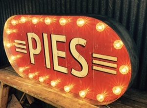 vintage american sign made from aged zinc and reclaimed wood with fairground cabochon lights.