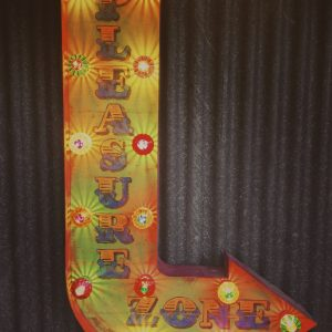 vintage illuminated signs, pleasure zone, metal sign, wayfinder sign, metal illuminated sign, vintage illuminated sign, sign with lights