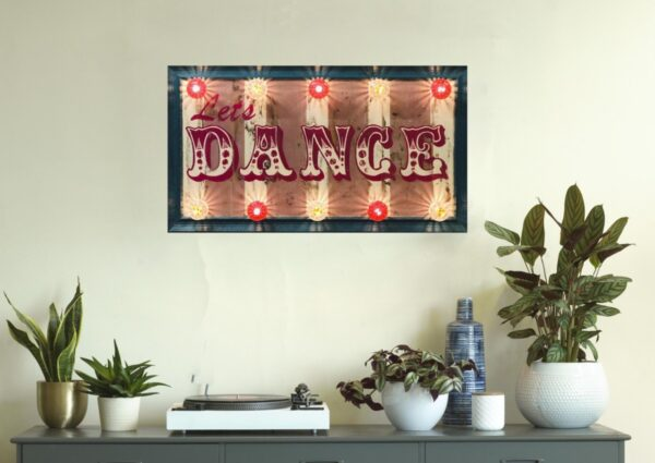 Lets Dance Sign, Fairground Sign. circus font. light up sign